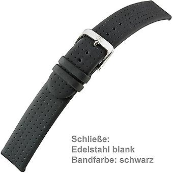 black watch strap calf leather for u-strap men watch 20 mm