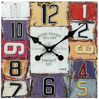 colorful quartz wall clock Shabby Chic wall clock quartz printed glass dial
