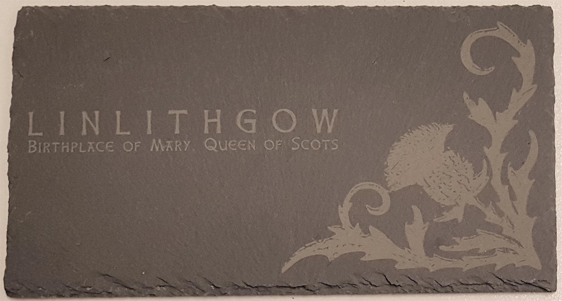 Graham Wishart Laser Etchings Oblong Slate Small Linlithgow Thistle