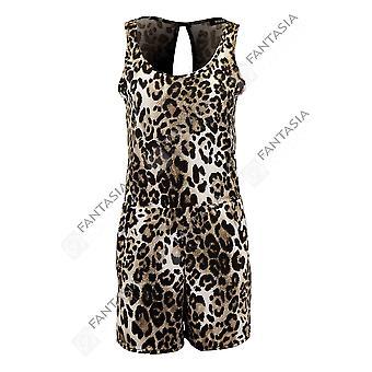 Nye damer ermeløse kuttet ut tilbake Leopard Skriv elegante damer Shorts Playsuit