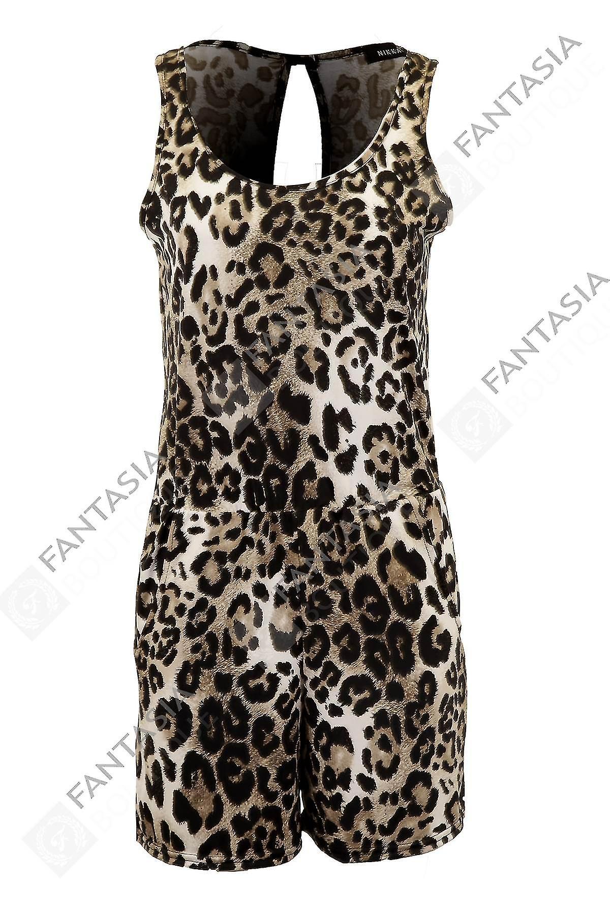 New Ladies Sleeveless Cut Out Back Leopard Print Elegant Women's Shorts Playsuit
