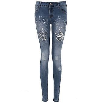Damer låg upphov pärla Diamante detalj slet nödställda uppskurna Skinny Jeans