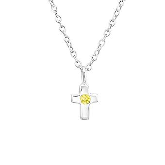 Birthstone Cross - 925 Sterling hopea Jewelled kaulakorut - W34920x