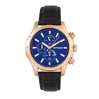 Breed Lacroix Chronograph Leather-Band Watch - Rose Gold/Black