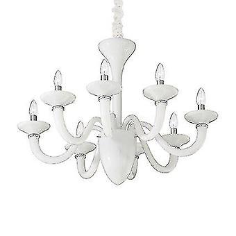 Ideel Lux - hvid dame hvid otte lys lysekrone IDL019390