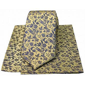 David Van Hagen ensemble de mouchoir et une petite cravate Floral - or/bleu