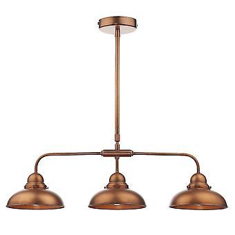 Dar d'éclairage Dynamo 3 barre lumineuse pendentif en cuivre Antique