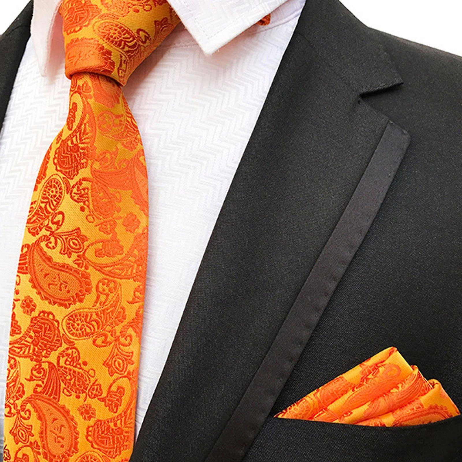 Bright orange paisley pattern pocket square & tie set