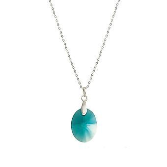 Eternal Collection Nebula Indicolite Itävallan soikea Crystal Sterling Silver riipus