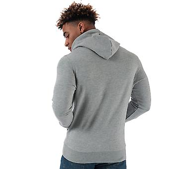 Mens Wrangler Logo Hoody In Grey- Ribbed Cuffs And Hem- Pouch Pocket To Front-