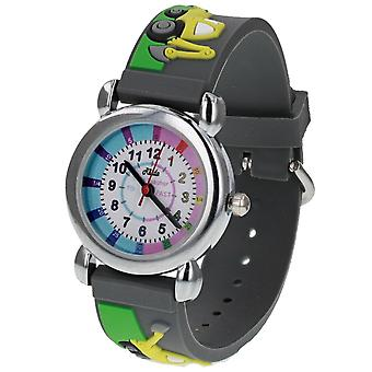 Relda Boy's-Children Time Teacher 3D Tractor/Digger Silicone Strap Watch + Telling The Time Award