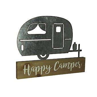 Wood and Metal Art Happy Camper Retro Trailer Table Sculpture