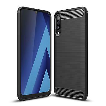 Samsung Galaxy A70 TPU veske karbon fiber optikk børstet beskyttelsesetui svart