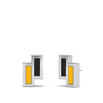 Boston Bruins Sterling Silver Asymmetrisk emalj Stud örhängen i svart och gult