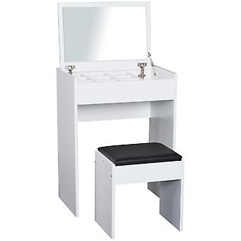 HOMCOM Chipboard Dressing Table Set Cushioned Stool Flip-up Mirror Multi-purpose - White