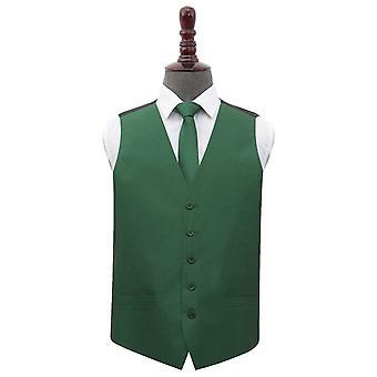 Emerald Green Plain Shantung Wedding Waistcoat & Tie Set