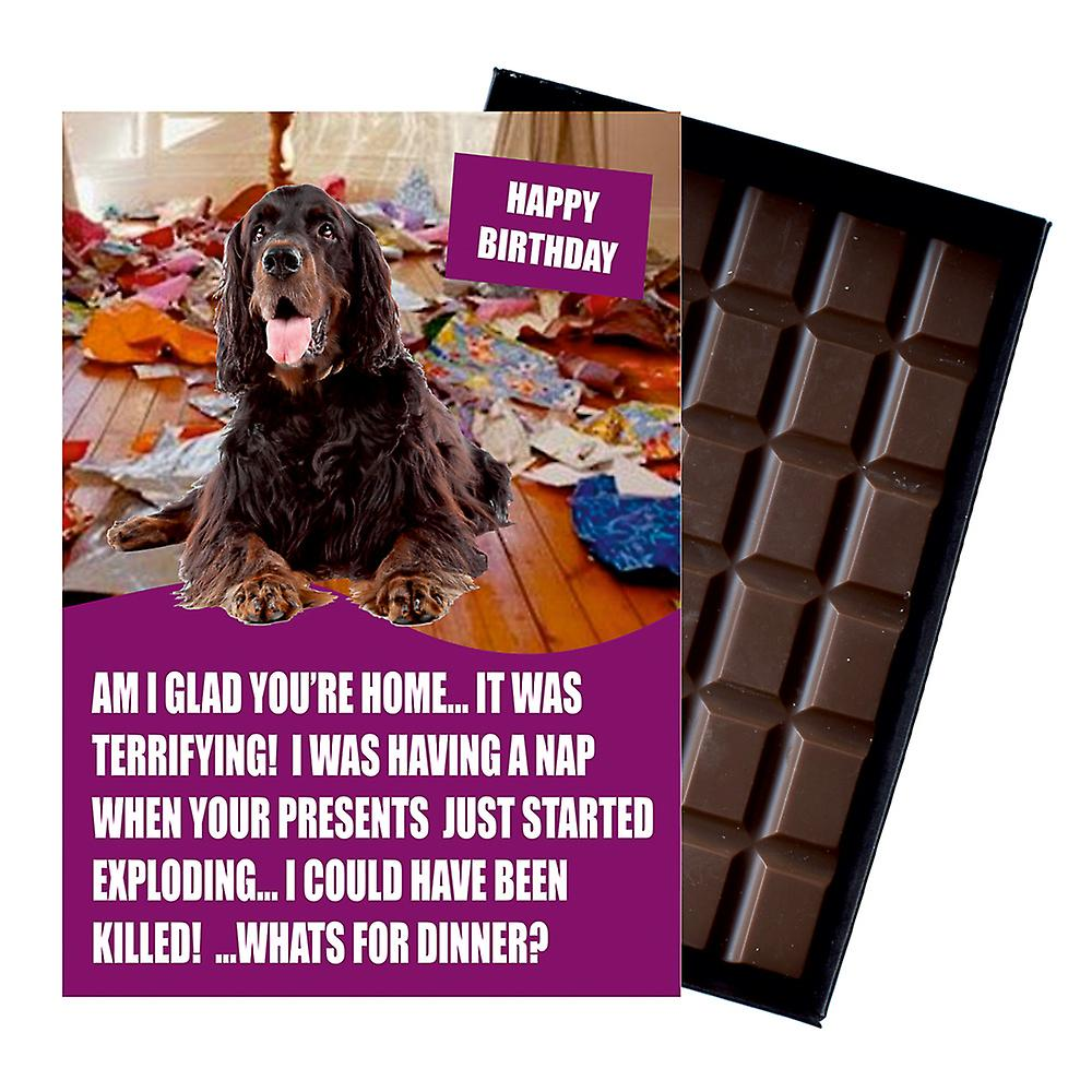 Gordon Setter Funny Birthday Gifts For Dog Lover Boxed Chocolate Greeting Card Present