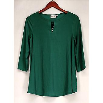 Attitudes by Renee 3/4 Sleeve Keyhole Neck Knit Top Green A277517