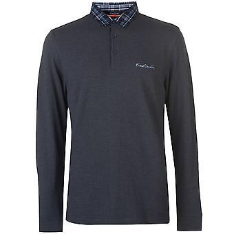 Pierre Cardin mens lange mouw check kraag Polo T-shirt T shirt tee top