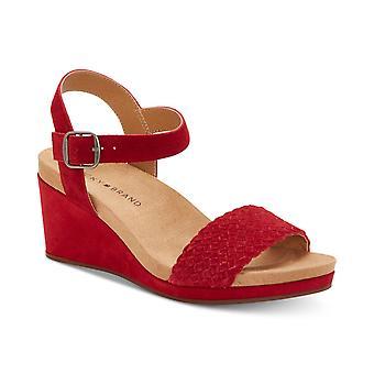 Lucky Brand mulheres Kenette couro aberto Toe casual tornozelo cinta sandálias