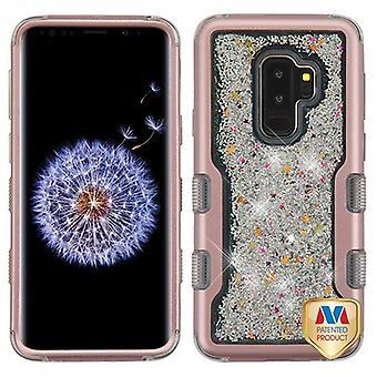 MYBAT Rose Gold/Silver gnistrar flytande flyter TUFF Quicksand glitter hybrid Case för Galaxy S9 plus