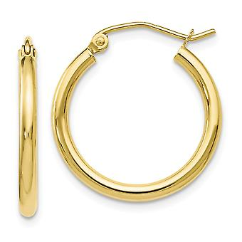 10k Ouro Amarelo Poliado Brincos de Argola Articulada De Joias Para Mulheres - .9 Gramas