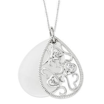 925 Sterling Silver Rörlig Spring Ring Rhodium pläterad Cubic Zirconia och simulerade Katter Eye Life Goes 18inch Halsband