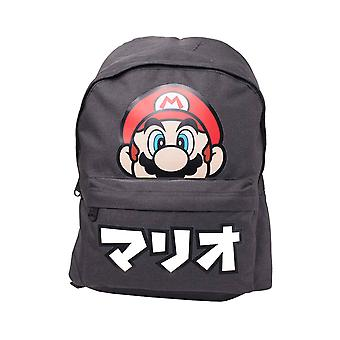 Super Mario Backpack Mario Face Japanese Text new Official Nintendo Black