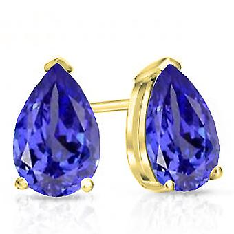 Dazzlingrock Collection 10K 6X4 MM Each Pear Tanzanite Ladies Solitaire Stud Earrings, Yellow Gold