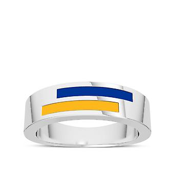 University Of Pittsburgh Sterling Silver Asymmetric Enamel Ring In Blue and Orange