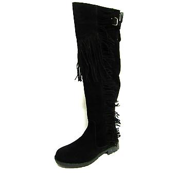 Ladies Spot On Boots F50488 Black Suedette Size 6 UK