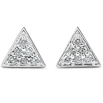 14k White Gold Triangle Pave .12Ct Diamond Small Studs Womens Earrings