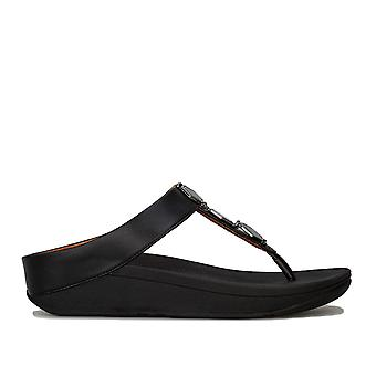 Womens Fitflop Fino Hexy Toe Thong Sandals In Black
