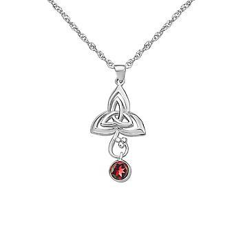 Celtic Holy Trinity Knot Necklace Pendant - Véritable gemme Grenat - Inclut un 22'quot; Chaîne d'argent