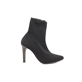 Paul Green 9392-00 Black Textile Womens Stiletto Pull On Boots