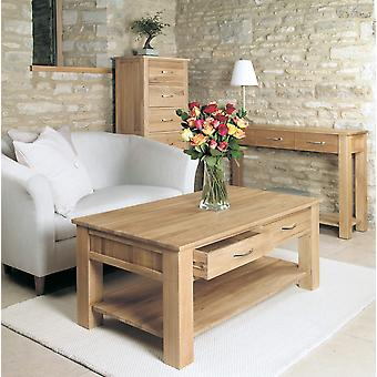 Mobel Oak Four Drawer Coffee Table Brown - Baumhaus