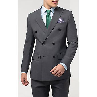 Dobell Mens Grey Sharkskin 2 Piece Suit Regular Fit Double Breasted Peak Lapel