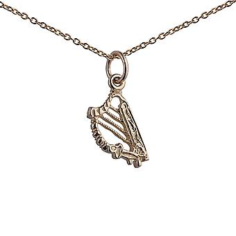 9ct Gold 13x8mm Harp Pendant with a 1.1mm wide cable Chain 20 inches