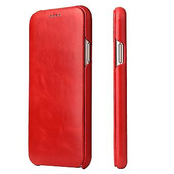 For iPhone XS,X Case,FS Elegant Protective Genuine Leather Flip Cover,Red