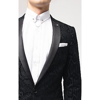 Twisted Tailor Mens Black Tuxedo Jacket Skinny Fit Charcoal Pattern