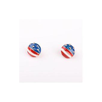 الولايات المتحدة الأمريكية العلم نجوم & المشارب الأقراط المرصعة