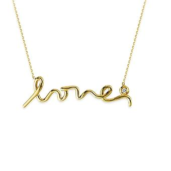 14k Yellow Gold 0.030 dwt Diamond Script Love Adjustable Necklace 18 Inch Jewelry Gifts for Women