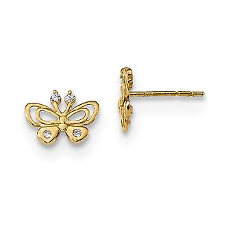 9mm 14k Madi K Polished CZ Cubic Zirconia Simulated Diamond Butterfly Angel Wings Post Earrings Jewelry Gifts for Women