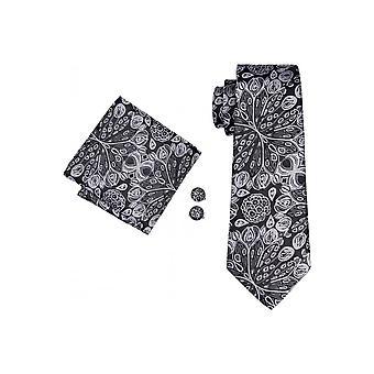 JSS Mens Zwart en Zilver Paisley L Tie Cufflink PocketSquare Set