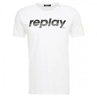 Replay Logo Print T-Shirt Blanc M3005