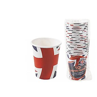 Union Jack Wear 10 Union Jack Wavy Flag Design Cardboard Cups
