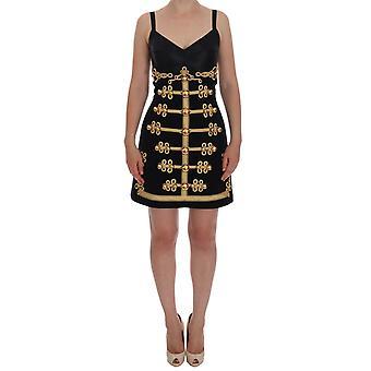Dolce & Gabbana Black Wool Stretch Gold A-Line Dress
