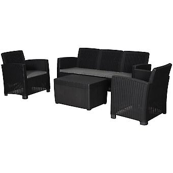 4 Pcs Faux Rattan Garden Set w/ 2 Chairs 1 Sofa 1 Table Padded Seats Raised Feet Tough Stylish Easy Clean Cushioned Garden Patio Balcony Family Friends Dining Sun Relaxing Black Grey