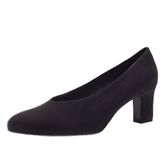 Peter Kaiser Mahirella Classic Mid Heel Court Shoes In Carbon Suede
