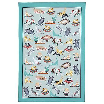 Kitchen Accessories Kitty Cats Apron, Double Oven Glove, Mitt , Tea Towel & Reusable Shopping Bag